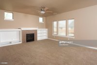 Empty Beige With Carpet Living Room Stock Photo
