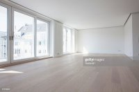 Empty Living Room In Modern Apartment Stock Photo | Getty ...