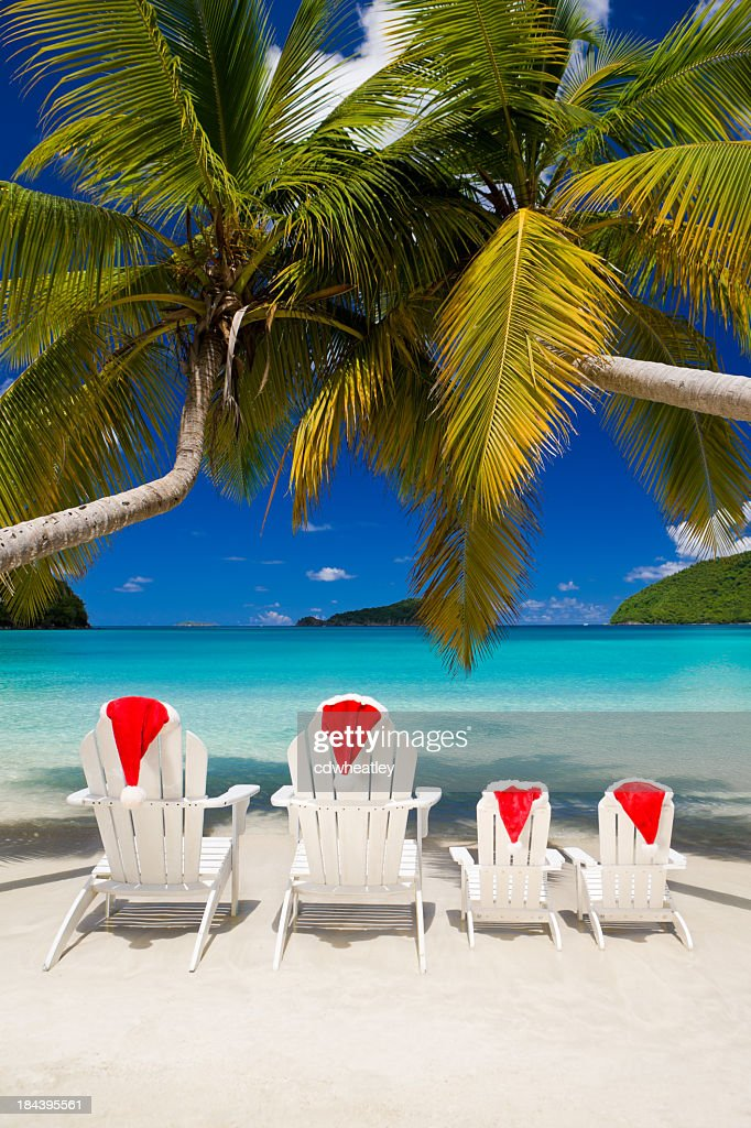 Family Christmas Vacation At A Tropical Beach Stock Photo