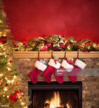Fireplace Decorated For Christmas Stock Photo | Getty Images