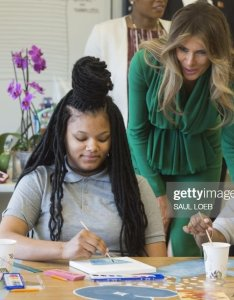 Talks with th grade students in an art class during  visit jordan   queen rania to the excel academy public charter school washington dc also us first lady melania trump rh gettyimages