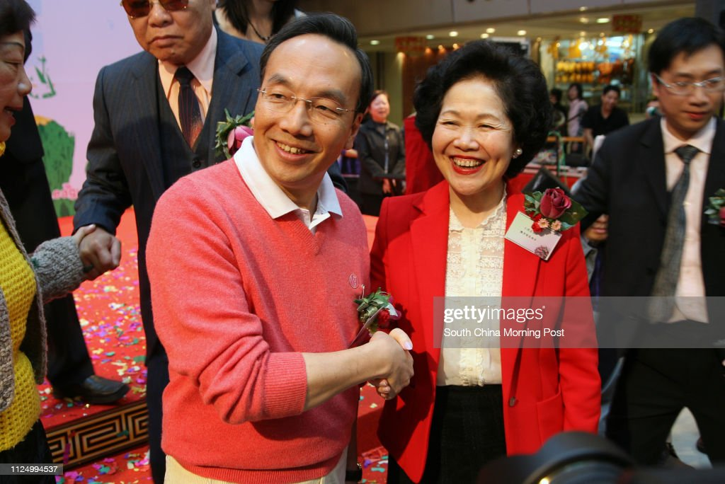 Former Chief Secretary Anson Chan Fang On-sang shakes hands and shows... News Photo - Getty Images