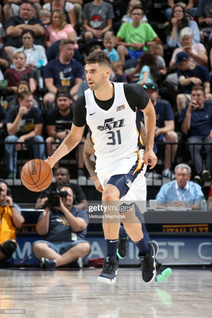 Georges Niang of the Utah Jazz handles the ball against the Atlanta... News Photo - Getty Images
