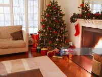 Gifts Under Christmas Tree In Living Room Stock Photo ...