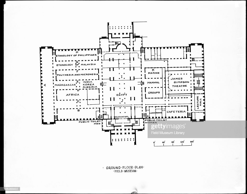 Ground Floor plan , of exhibit halls showing titles and