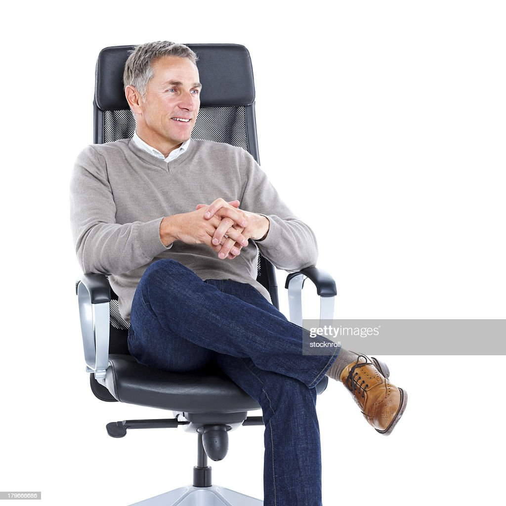 Office Sitting Chairs Happy Senior Man Sitting Relaxed On Office Chair Stock