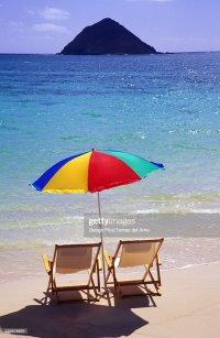 Hawaii Oahu Lanikai Beach Chairs And Colorful Umbrella On ...
