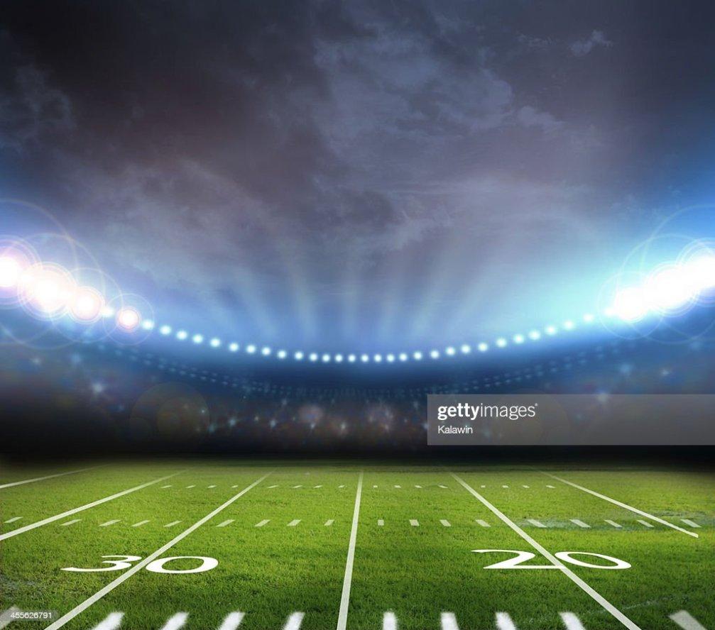High Stadion Lichter Beleuchtung Bis Footballfeld Stock
