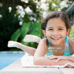 Reading Poolside Lounge Chair Patio High Back Cushions Girls Tanning Pool Stock Photos And Pictures   Getty Images