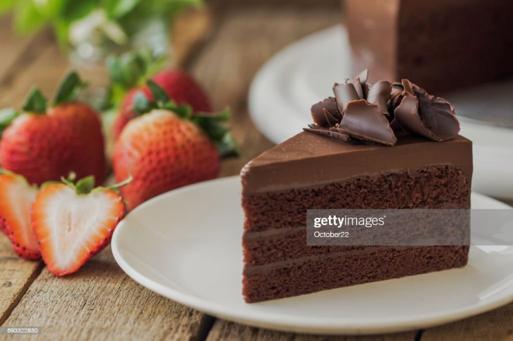 Homemade Bakery Chocolate Fudge Cake Decorated With Chocolate Curl