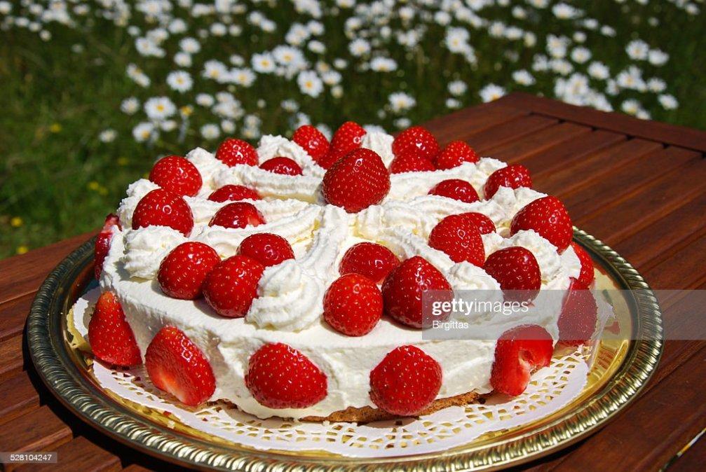 Homemade Cake With Cream And Strawberries Stock Photo Thinkstock
