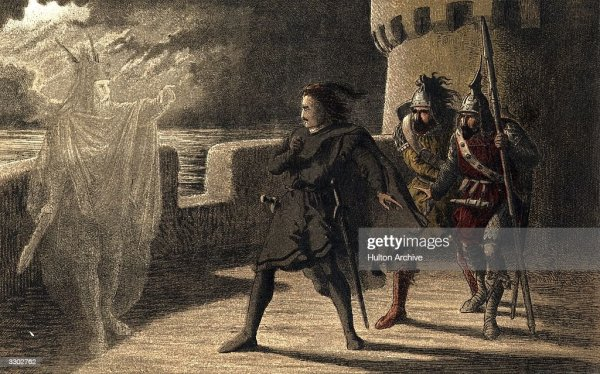 Horatio Marcellus and Hamlet encounter the ghost of the late King Pictures Getty