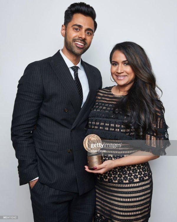 Host And Comedian Hasan Minhaj Wife Beena Patel Pose . - Getty
