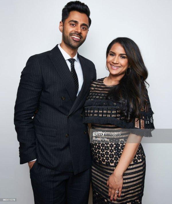 Host And Comedian Hasan Minhaj Wife Beena Patel Pose . Getty