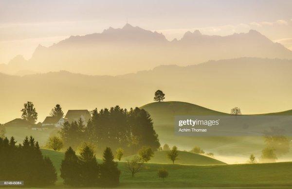 idyllic landscape switzerland europe