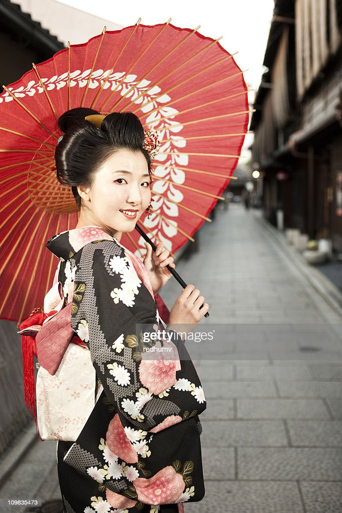 Japanese Woman In Kimono And Parasol Stock Photo  Getty