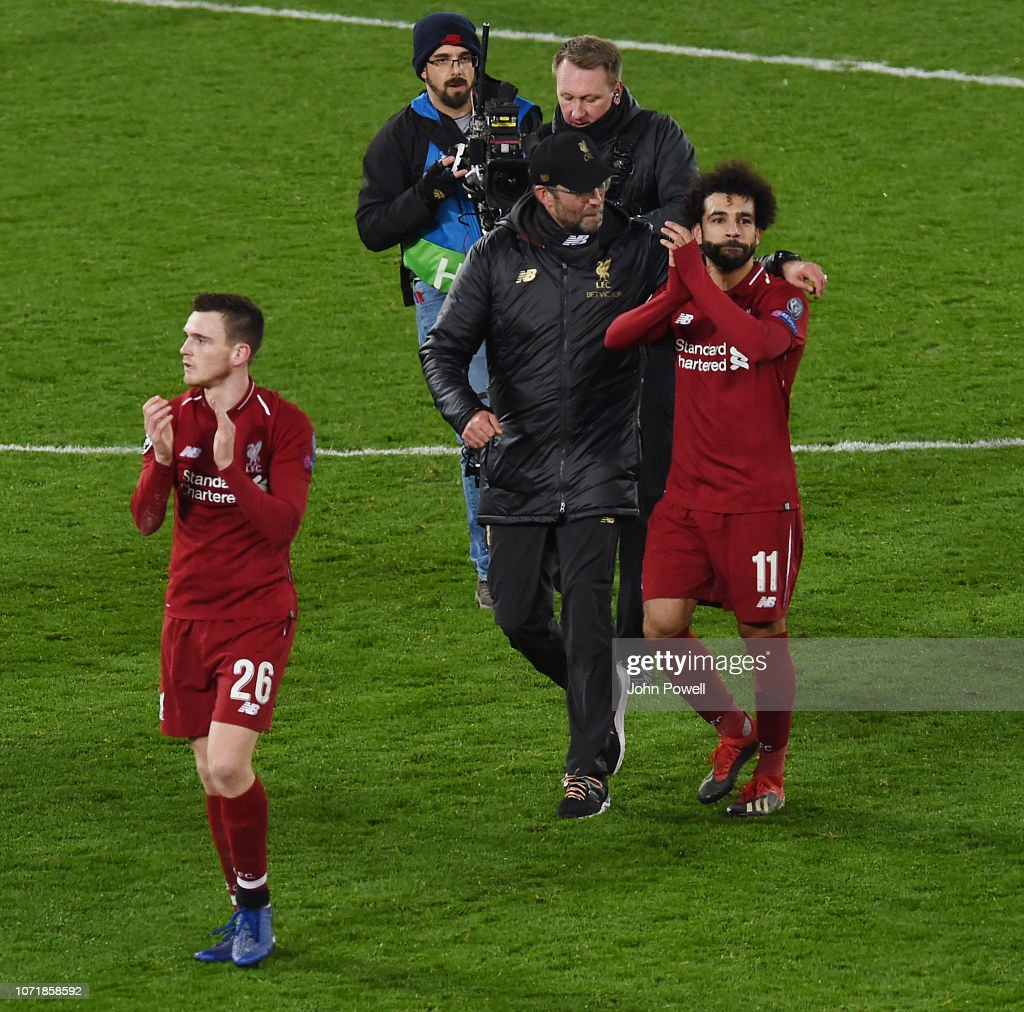 hight resolution of  liverpool v napoli jurgen klopp manager of liverpool and his player mohamed