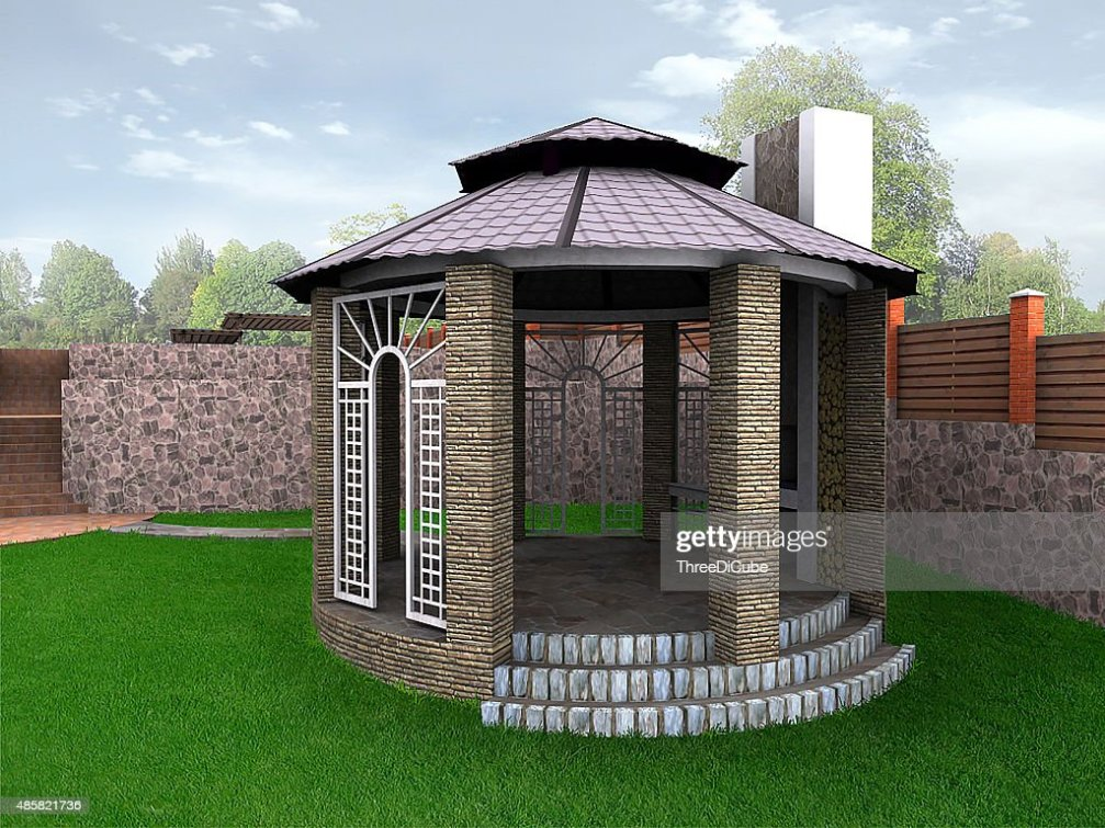 Landscape Design Garden Alcove 3d Render Stock Photo Thinkstock