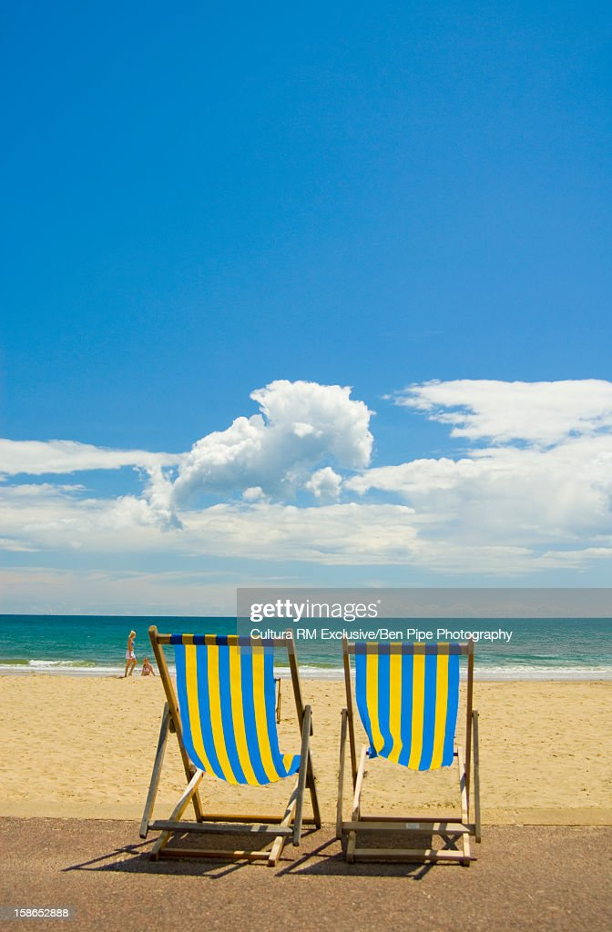 beach lawn chairs study table and chair on sandy stock photo getty images