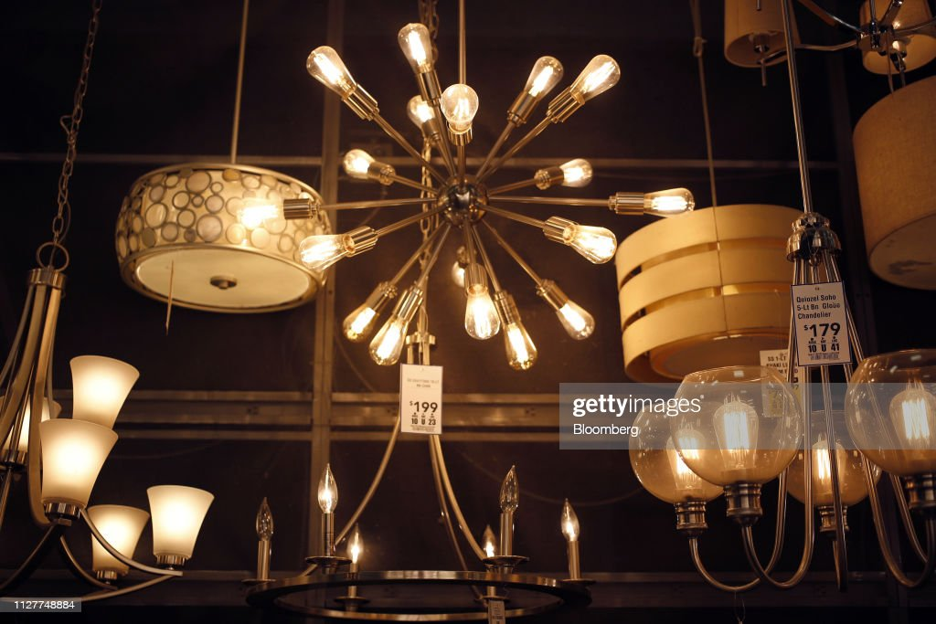 https www gettyimages com detail news photo lighting fixtures hang on display for sale at a lowes cos news photo 1127748884
