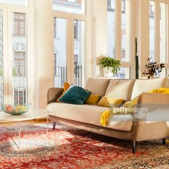 Modern Living Room With Persian Rug Mediterranean Furniture Style Stock Photos And Pictures Area