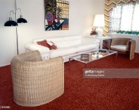 Living Room With Sofa 2 Wicker Chairs Glass Coffee Table ...