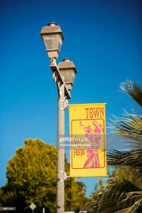 Low Angle View Of A Banner On A Lamppost San Diego