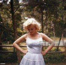 Marilyn Monroe Wearing Blue Dress In 1957 Amagansett