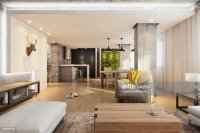 Modern Hipster Apartment Interior Living Room Stock Photo ...