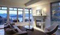 Modern Living Room Overlooking Ocean Stock Photo | Getty ...