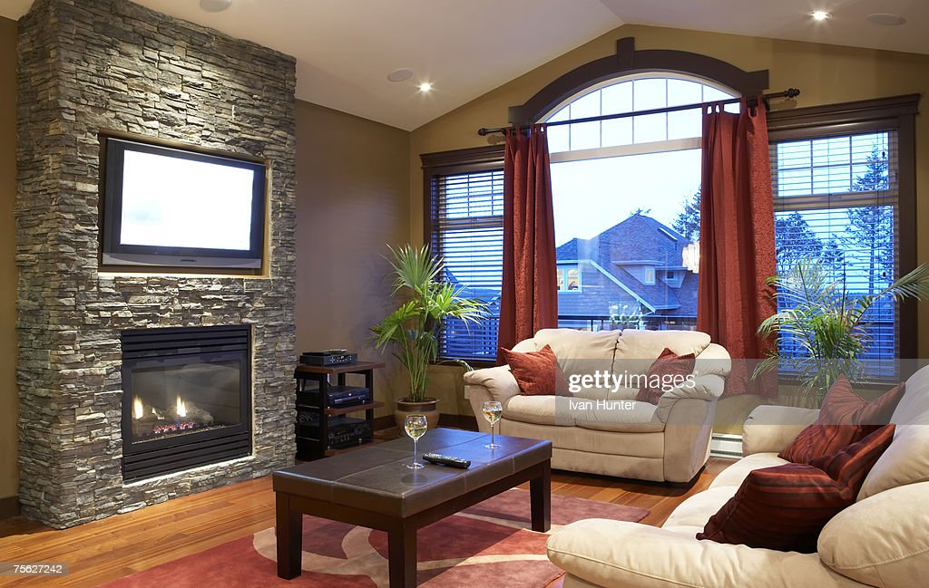 Modern Living Room With Fireplace And Flat Screen