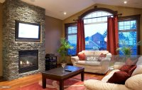 Modern Living Room With Fireplace And Flat Screen ...
