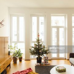 Living Room Tree Retro Curtains Modern Loft With Potted Blue Spruce Christmas Stock Photo