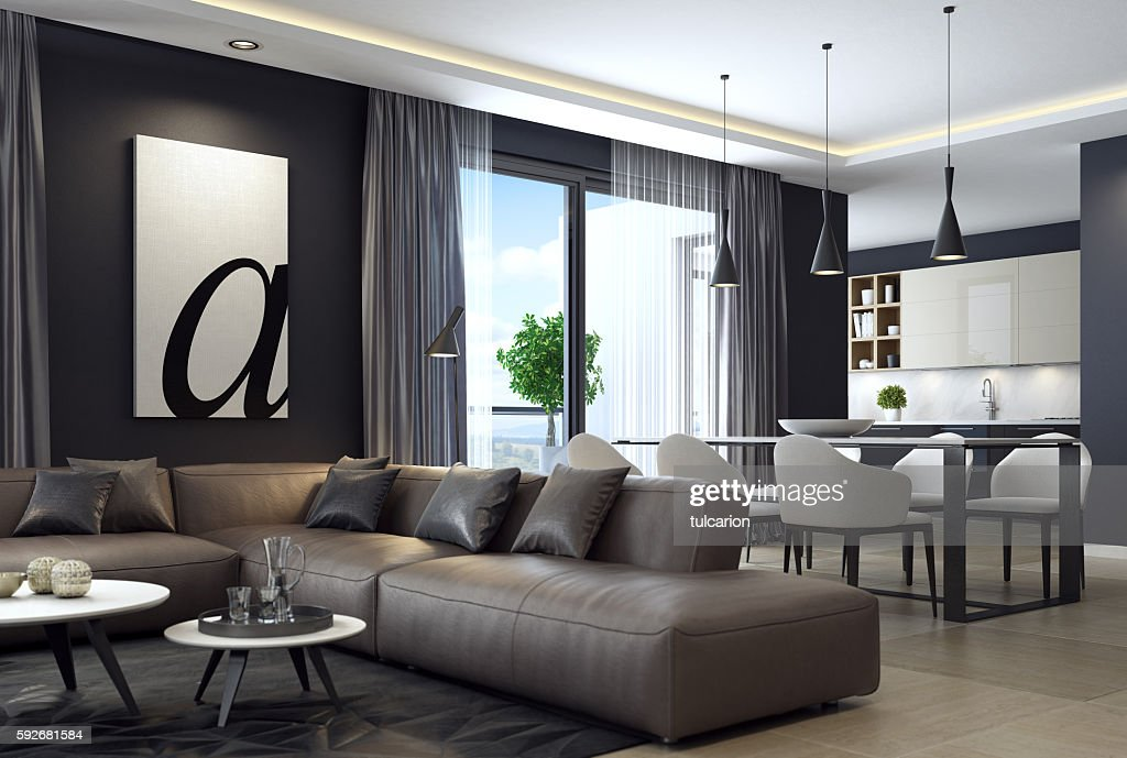 picture of interior design living room fabric chairs for stock photos and pictures image a contemporary rf modern luxury black style apartment with leather sofa