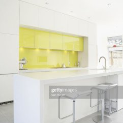 Modern White Living Rooms Room With Tv Yellow Accent Wall Stock Photo Getty