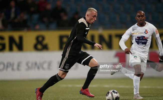 Noa Lang Of Ajax U23 Elvio Van Overbeek Of Telstar During