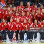 Norway Handball Team Players Posing On The Podium After
