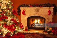 Old Fashioned Christmas Fireplace And Tree Stock Photo ...