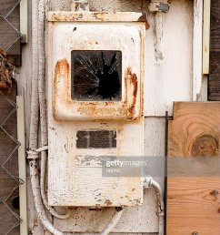 alte rostige fuse box mit pealing farbe an verlassenen haus stock foto [ 768 x 1024 Pixel ]