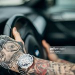 One Young Man With Whole Body Covered In Tattoos Driving A Car High Res Stock Photo Getty Images