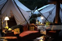 Outdoor Living Room And Tents Stock Photo