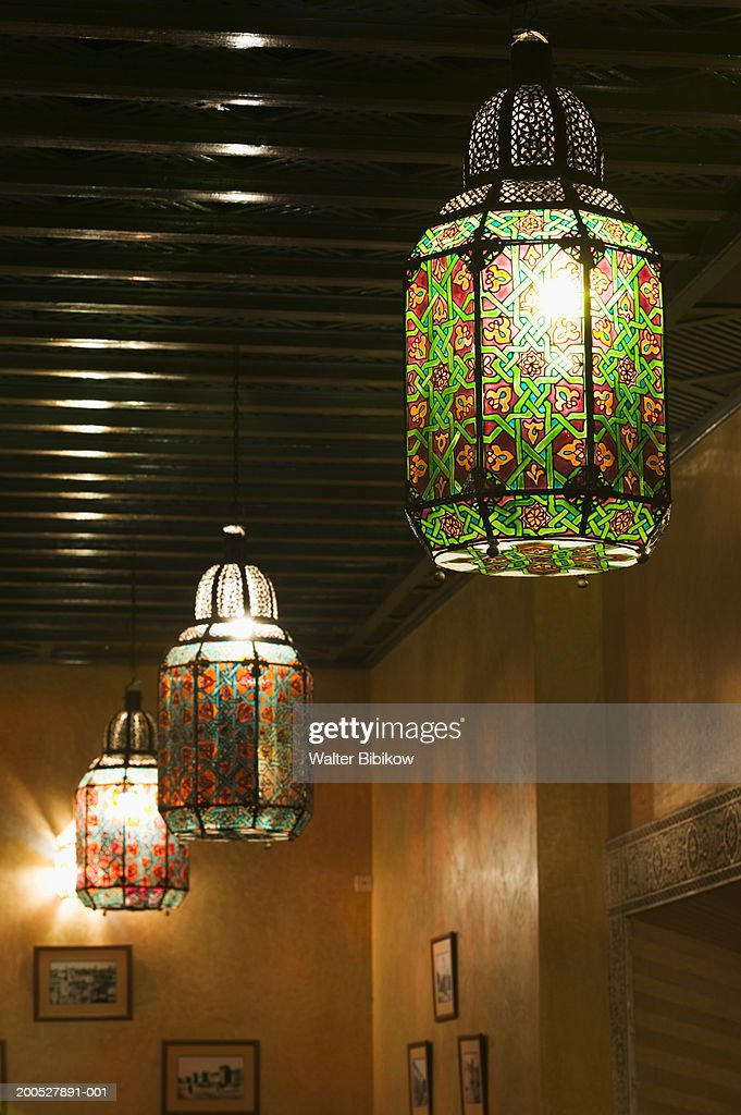 painted glass light shades in moroccan style close up high res stock photo getty images