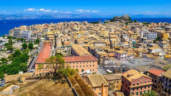 Panoramic View Of Corfu Old Town Kerkyra Ionian Islands