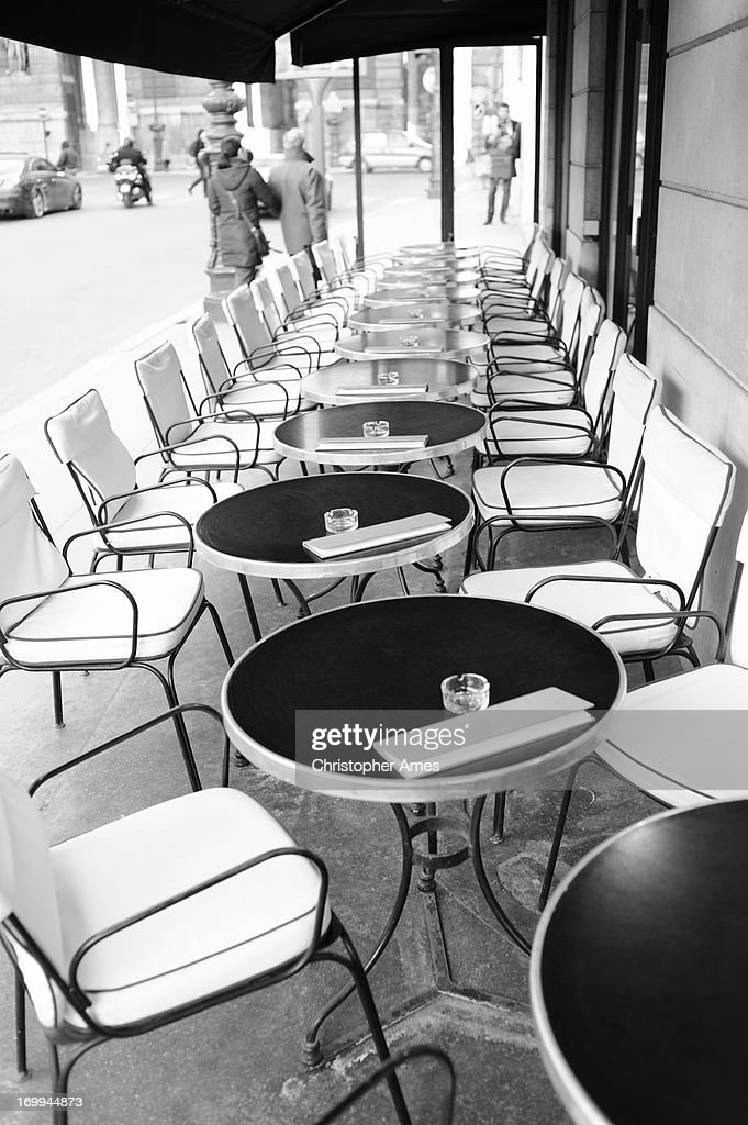 parisian cafe table and chairs garden lounge chair covers paris tables outside stock photo getty images
