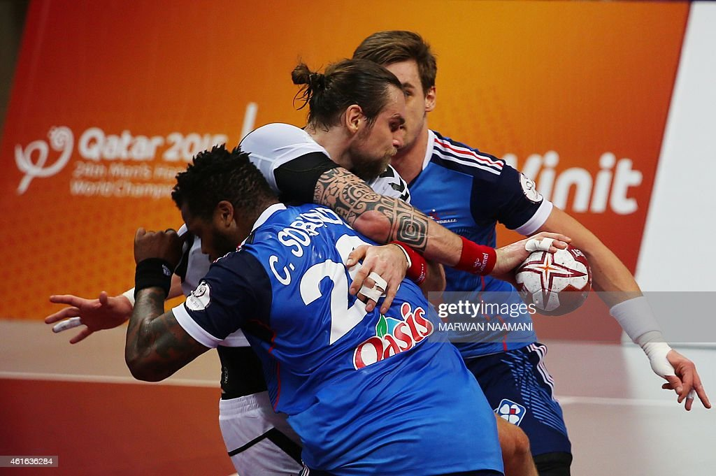 Pavel Horak C of the Czech Republic is blocked during