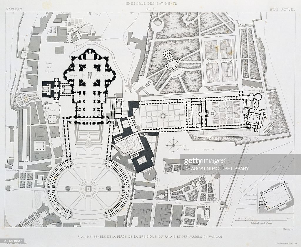 hight resolution of engraving from vatican and st peter s basilica