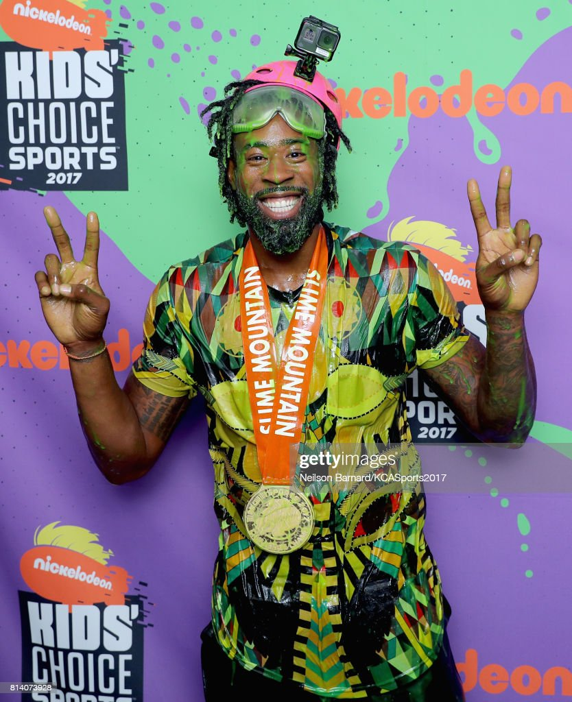 Kids Choice Sports 2017 Slime : choice, sports, slime, Player, DeAndre, Jordan,, Winner, Slime, Mountain, Competition,..., Photo, Getty, Images