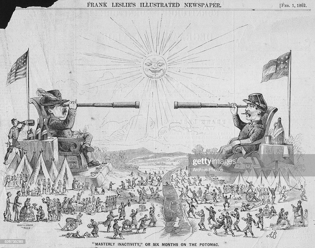 Political cartoon depicting Union General George McClellan