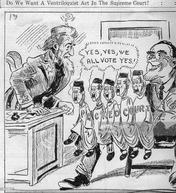 Supreme Court Packing FDR Political Cartoon