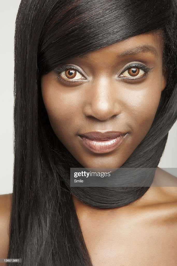 portrait of woman with hair wrapped